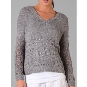 Vince hand knitted Gray V neck Sweater Small